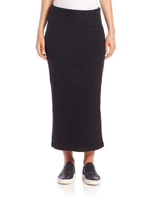 knit maxi pencil skirt in black lyst