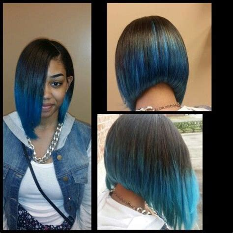 weave for inverted bob custom quick weave bob blue hair aquatic hair styles