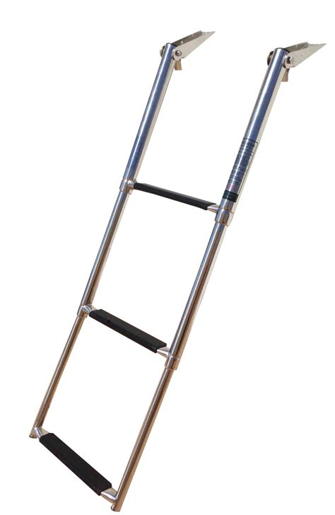 stainless folding boat ladder marine boat stainless steel 3 step telescopic folding