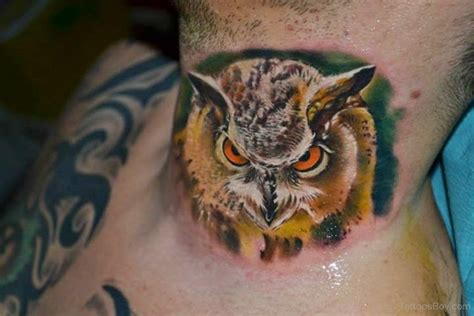 owl neck tattoo owl tattoos designs pictures page 16