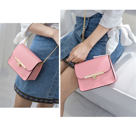 Tas Pundak Korea Mini Korean Chain Mini Square Shoulderbag Bta041 Korean Chain Small Square Leather Bag Lock Mini Messenger Sling Bag Shoulder Handbag