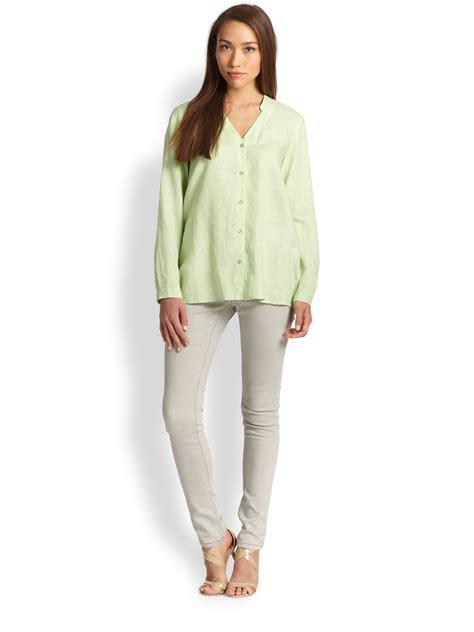 Blouse Saku Jumbo Linen lyst eileen fisher linen oversized button shirt in green