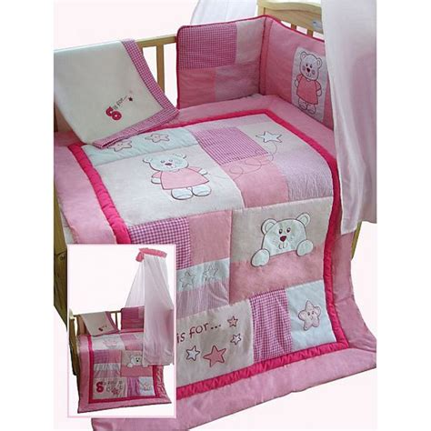 Patchwork Cot Bedding - snuggle bed pink bears patchwork style 5 cot cotbed