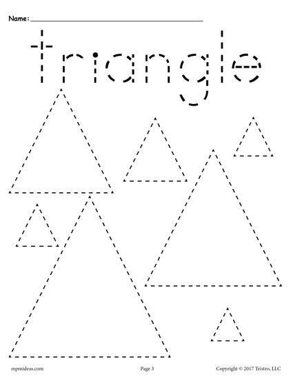 Triangle Pattern To Trace | 12 free shapes tracing worksheets tracing shapes