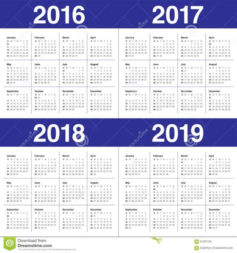 Calendrier 2019 Et 2020 Calendrier 2016 2017 2018 2019 Photo Stock Image 61291755