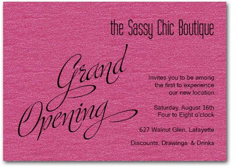 shop opening invitation templates pink sparkle grand opening business invitations