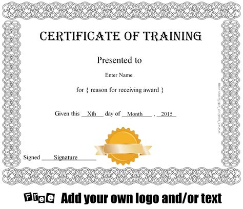hipaa training certificate template sample course completion