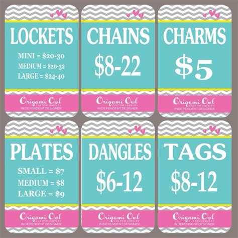 origami owl price cards price cards for origami owl products origami owl