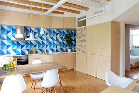white and blue geometric backsplash home decorating