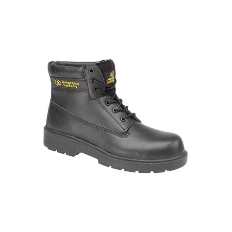 amblers steel black leather non metallic safety boots with