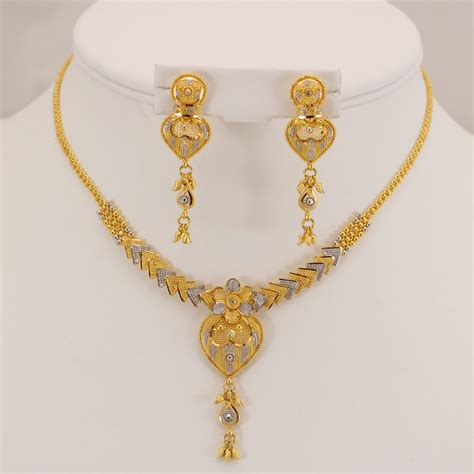 jewelry gold 22 carat indian gold fancy necklace set 26 2 grams gold
