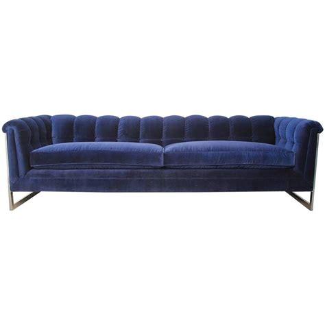 modern tufted sofa velvet blue velvet tufted back chrome frame mid century modern
