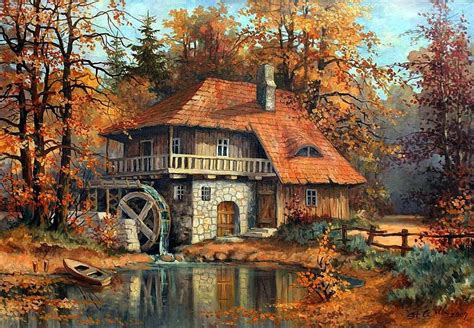 painting of house painting of windmill house in the fall pictures photos and images for