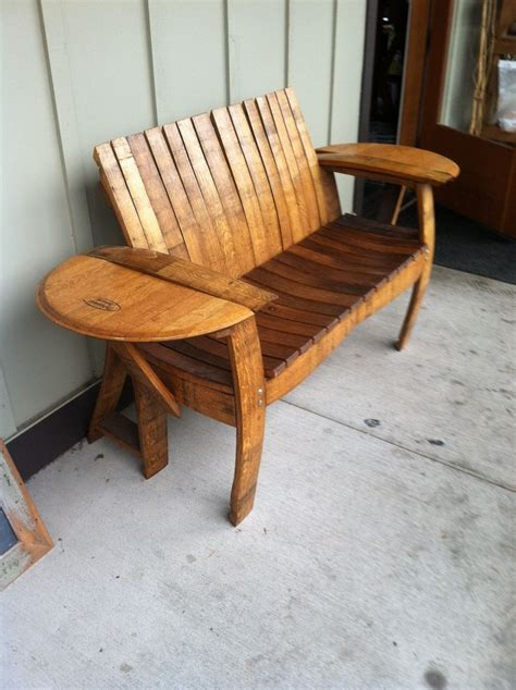 whiskey barrel bench wine barrel stave bench for the home pinterest love