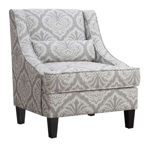 Gray And White Accent Chair Coaster Jacquard Pattern Accent Chair In Gray And White Ebay