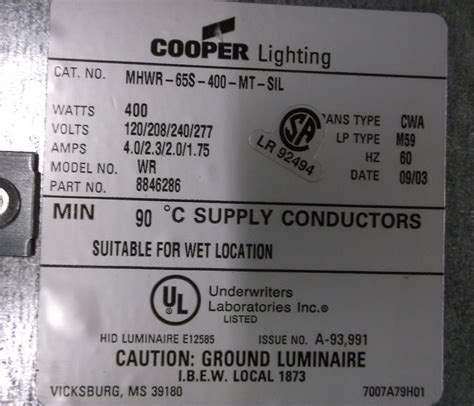 cooper lighting mhss 400 mt cooper lighting warrior mhwr 65s 400 mt sil ebay