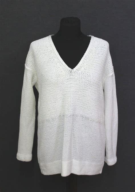 globus white cotton knitted v helmut lang white cotton blend knitted v neck sleeve jumper s ebay