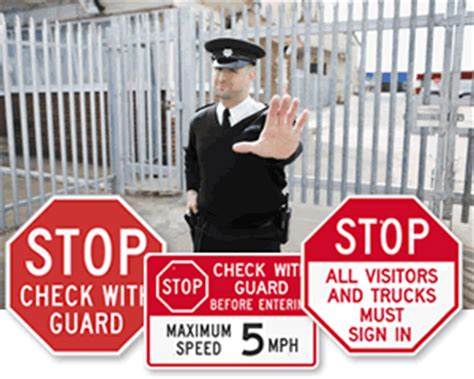 guard your gates the guard your gates to high productivity books security guard gate signs stop check with guard rust proof