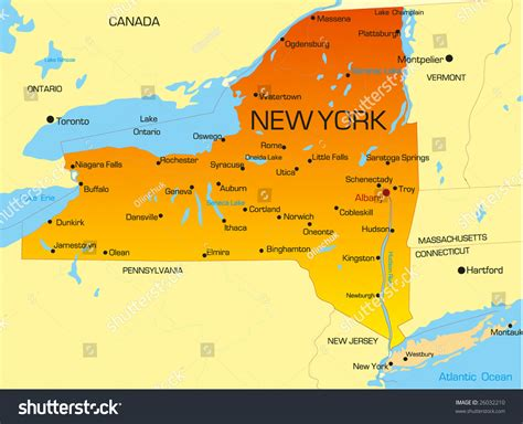new map usa vector color map new york state stock vector 26032210