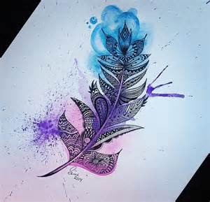 alternative art colorful drawing feather image