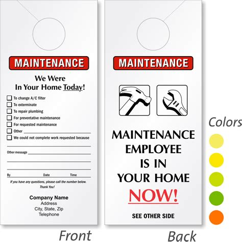 door name tag template maintenance door hangers add your name or in stock designs
