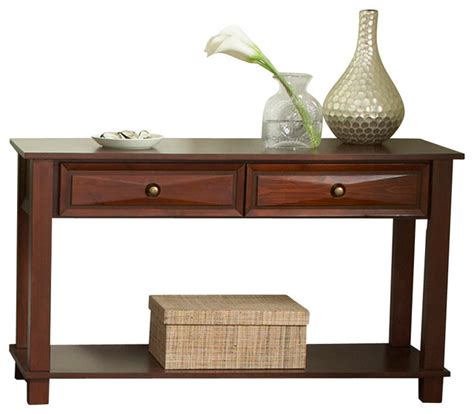 Steve Silver Mason 2 Drawer Sofa Table In Cherry Sofa Table With Drawer