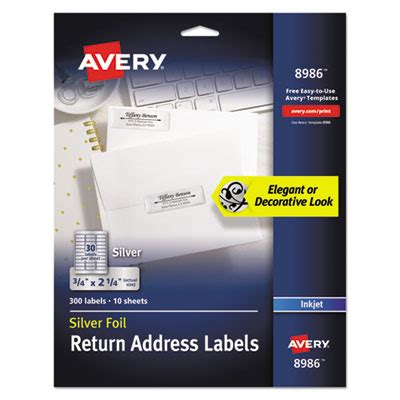 avery foil mailing labels 3 4 x 2 printer