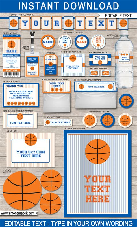 printable basketball ticket template blue orange basketball printables invitations decorations