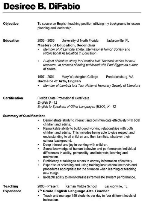 teaching objective resume sle resume like the bold name with line