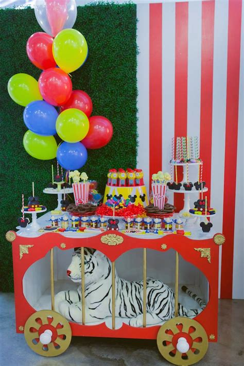 circus themed birthday decorations kara s ideas mickey mouse circus birthday