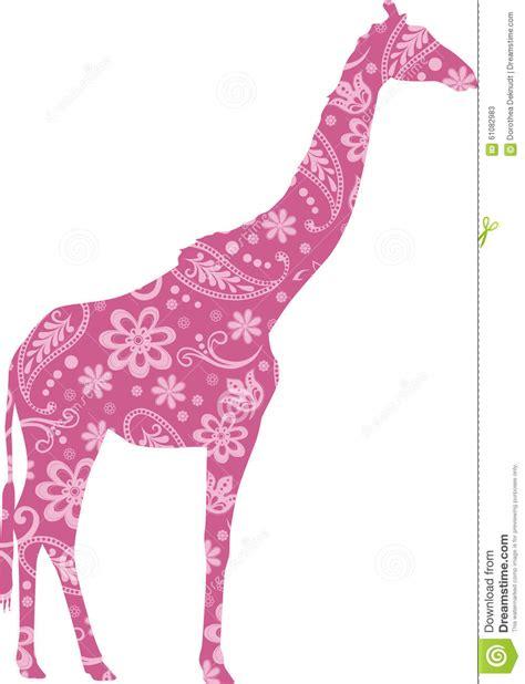 pink giraffe pattern giraffe floral pattern pink stock vector image 61082983