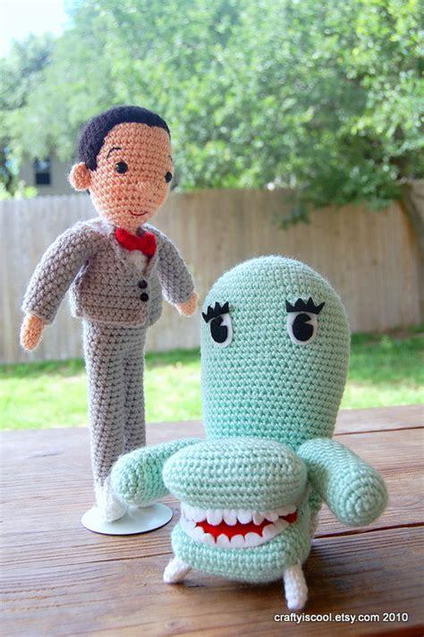 herman knitting wee herman and chairy amigurumi crocheted by allison
