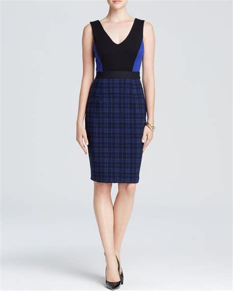 sleeveless plaid v neck dress bailey 44 dress sleeveless v neck plaid skirt in blue lyst