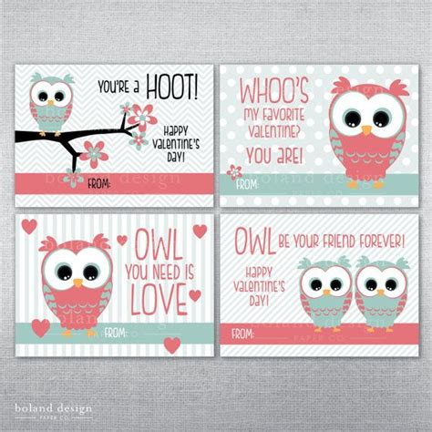 owl valentines instant cards printable owl