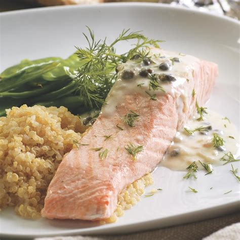 poached salmon recipes poached salmon with creamy piccata sauce recipe eatingwell