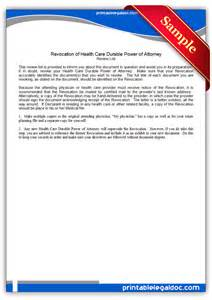 free printable durable power of attorney template free printable revocation of health care durable power of