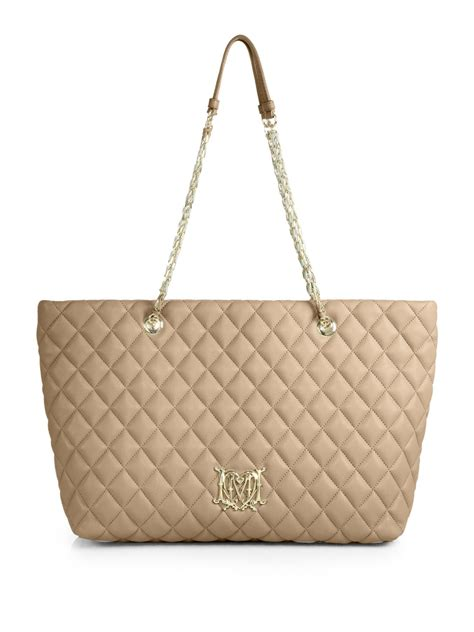 Moschino Bag moschino quilted tote in brown lyst
