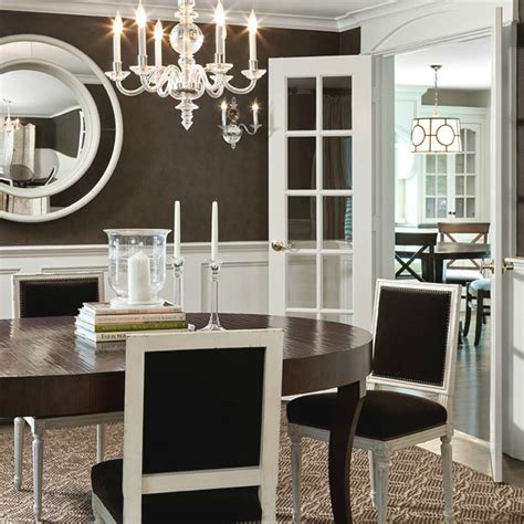 chocolate brown paint colors transitional dining room behr aging barrel contreras