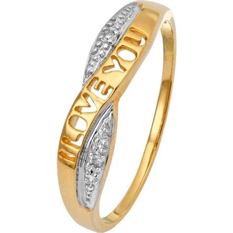 buy 9ct gold i you crossover ring at argos