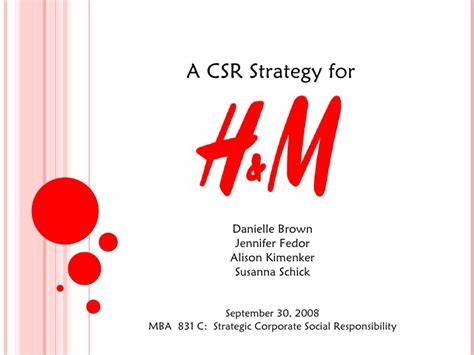 Mba In Hm by Strategic Corporate Social Responsibility Recommendations