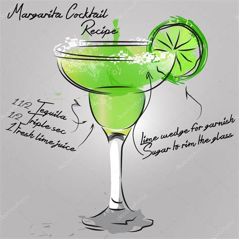 cocktail vector illustration with margarita cocktail stock