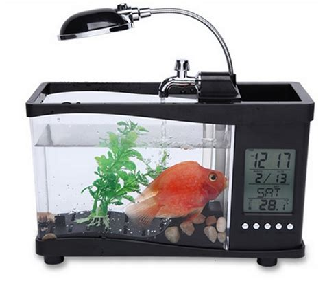 Usb Desktop Aquarium Mini Fish Tank Akuarium Mini With Lcd Display special price usb desktop mini fish tank aquarium lcd