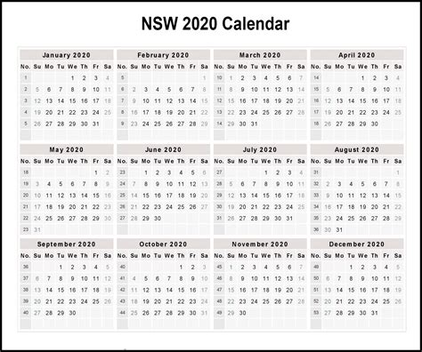 printable calendar  templates  nsw public holidays printable template calendar