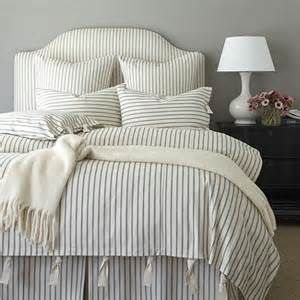Ticking stripe duvet navy ballard designs