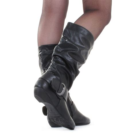 womens black slouch casual leather style mid calf