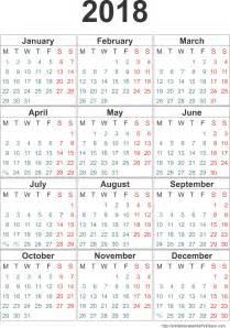 Small Calendar 2018 Printable