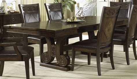 dark wood dining room sets piece 108x44 dining room set in cognac dark wood