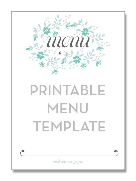 free menu templates dinner menu templates free world of printable