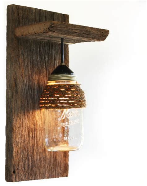 Rustic Wall Sconces Barn Wood Jar Light Fixture With Rope Detail