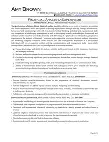 financial analyst resume sle entry level financial